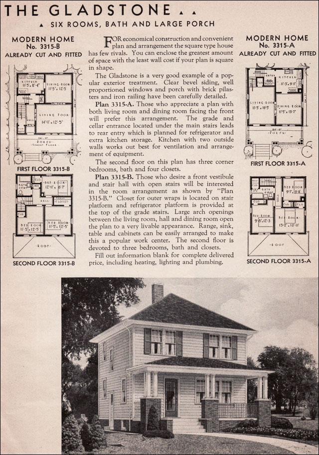 Four square house plans american four square sears for Rectangle farmhouse plans