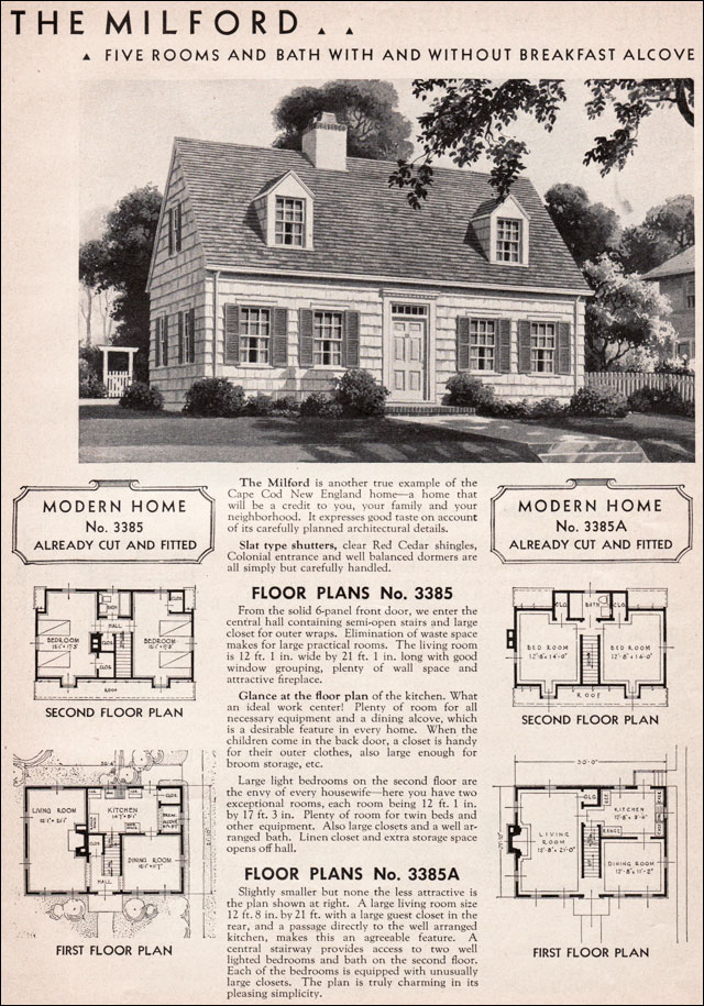 1936 milford sears roebuck modern homes honor bilt cape cod colonial revival traditional. Black Bedroom Furniture Sets. Home Design Ideas