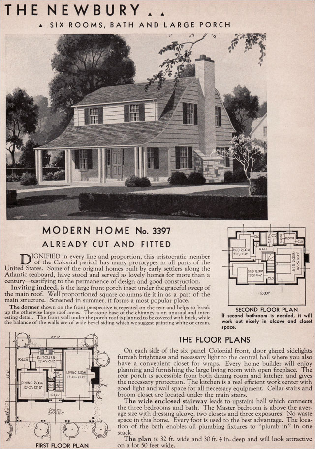 1936 dutch colonial revival newbury sears kit house for Colonial home plans and floor plans