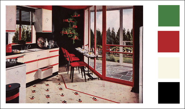1945 Armstrong Kitchen Red Black Ivory