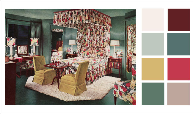 1946 armstrong linoleum blue green bedroom