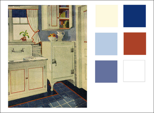 1929 Monochromatic blue kitchen with red