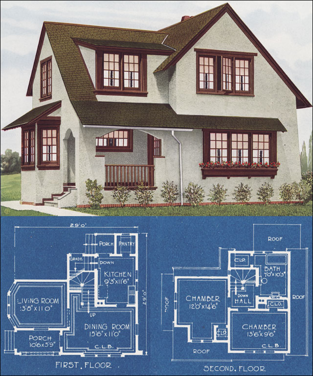 Modern english house in stucco 1921 c l bowes for American home designs plans