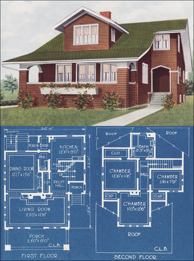1921 modern bungalow type house c l bowes american for American house designs modern