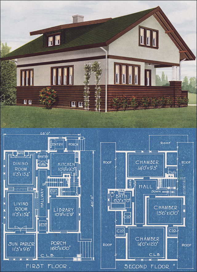 Prairie School Bungalow American Homes Beautiful 1921