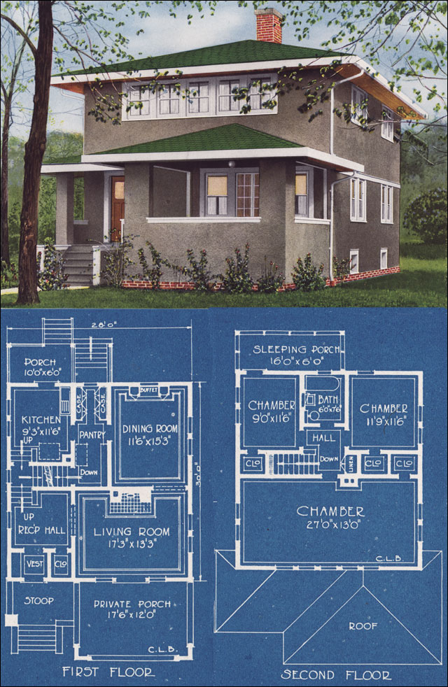 Pleasing Modern Stucco Foursquare House Plan 1921 C L Bowes American Largest Home Design Picture Inspirations Pitcheantrous