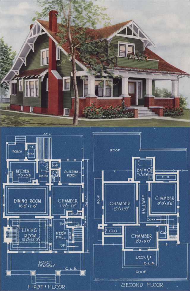 Craftman bungalow style house 1921 american homes for American bungalow house