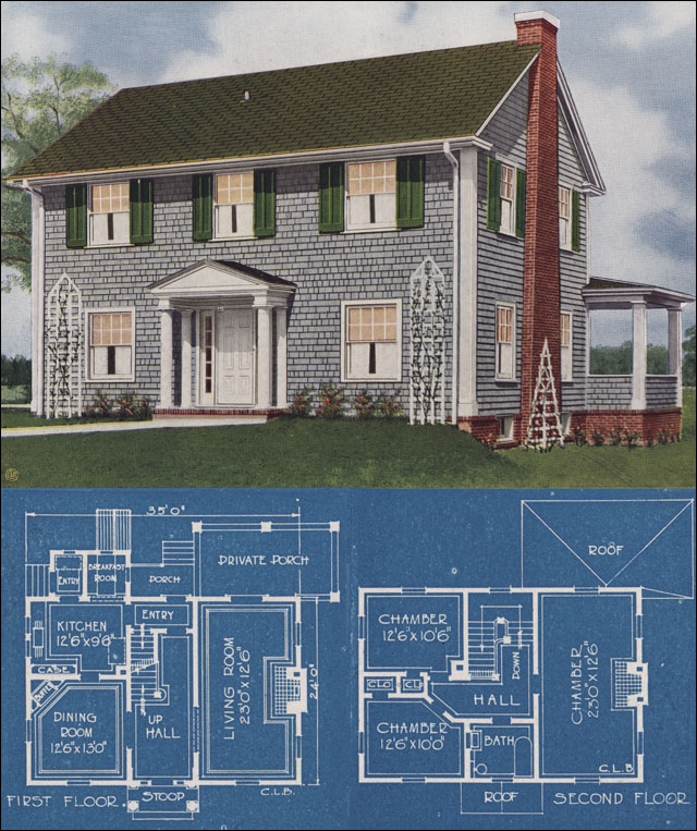 1921 colonial revival american homes beautiful charles lane bowes publisher - Contemporary colonial house plans property ...