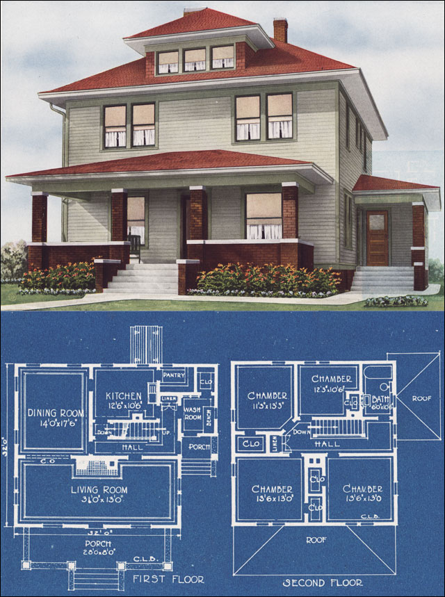 Midwestern foursquare modern prairie box 1921 c l bowes Small foursquare house plans