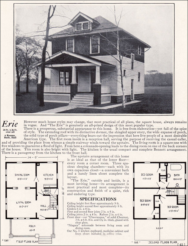 Four Squar House Design Of 1900s: American 4 Square House Plans