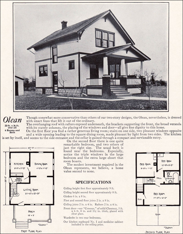 Classic farmhouse with craftsman detail 1922 olean for Farmhouse kit homes