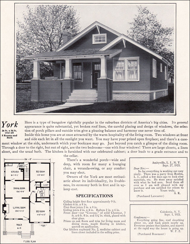 1920s Modern Bungalow - 1922 York by Bennett Homes - Kit Houses