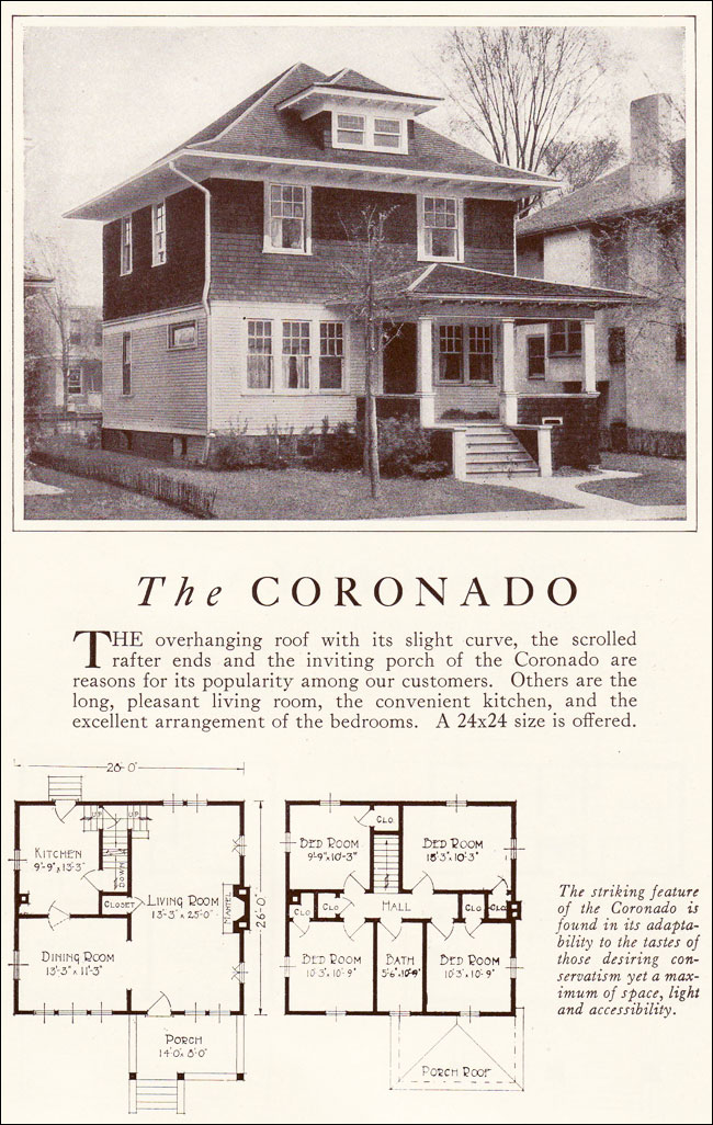1922 coronado american foursquare lewis manufacturing for Four square home designs