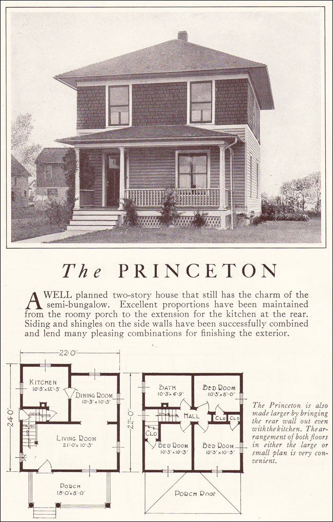 Lewis manufacturing 1922 foursquare two story princeton for American foursquare floor plans