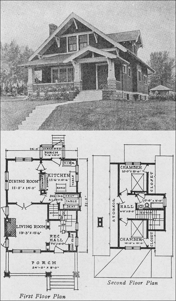 Craftsman bungalow house plans 1920s for Standard homes plans