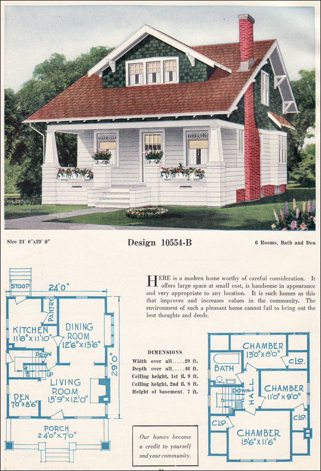 C 1923 bungalow c l bowes forward gable bungalow for 1920 house plans