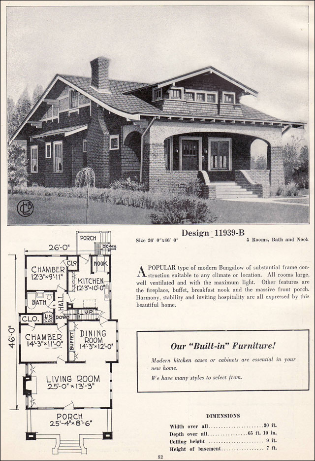 Craftsman style bungalow c 1923 c l bowes vintage for Characteristics of craftsman style homes
