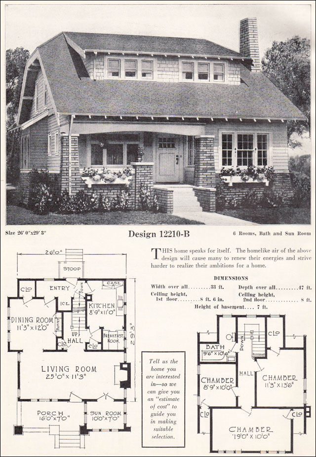 Bungalow cottage clipped gable and shed dormer c 1923 for 1920 bungalow house plans