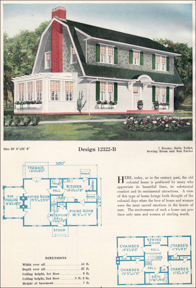 Dutch colonial revival gambrel roof with shed dormers for Gambrel roof house plans
