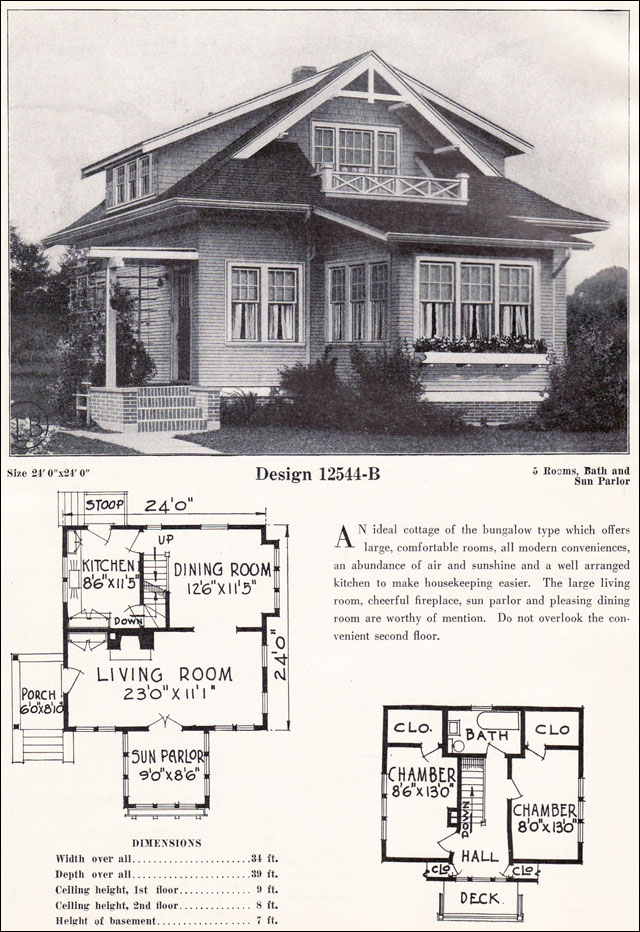 Small Bungalow Cottage Plan C L Bowes Company c 1923