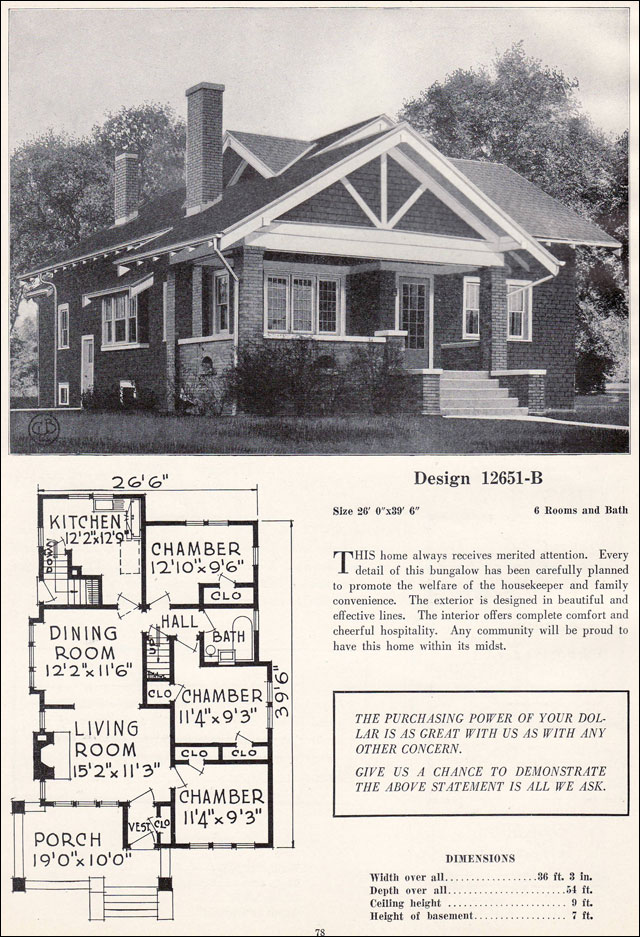 Craftsman style bungalow house plans vintage Craftsman bungalow home plans