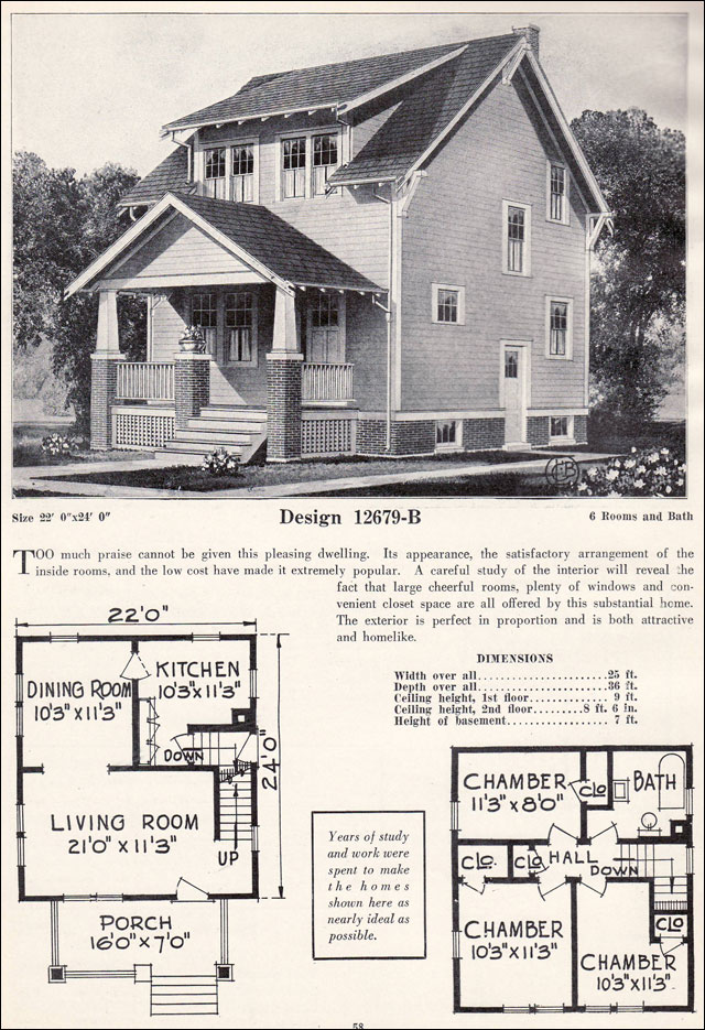 Two story side gable craftsman plan cottage c l bowes for 1920 s craftsman bungalow house plans