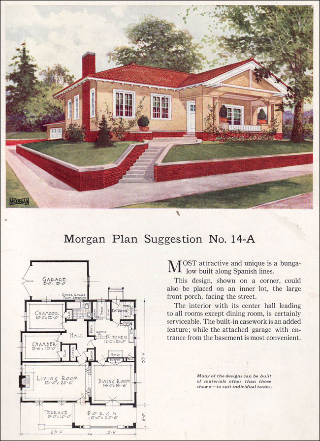 Spanish revival style bungalow 1923 morgan sash window for Spanish bungalow house plans