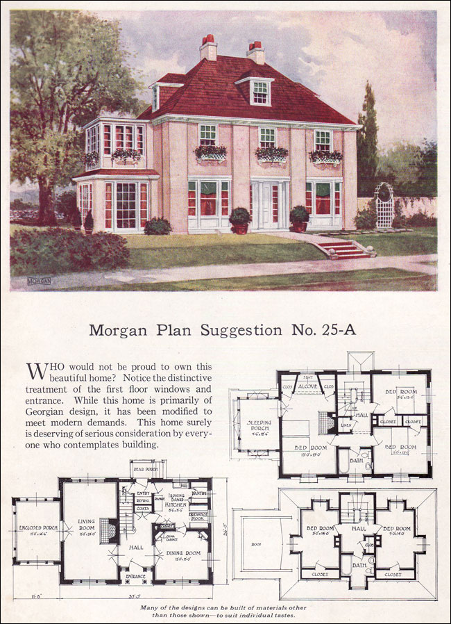 Georgian revival or french eclectic 1923 morgan building with assurance steep hipped roof Vintage home architecture