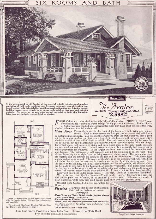 Avalon Sears Kit Houses California Bungalow Small - Craftsman house plans and homes and craftsman floor plans