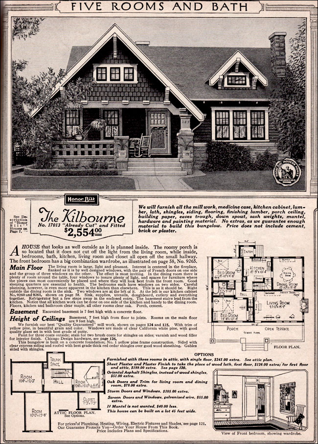 Vintage small house plans - 1923 Sears Brookside - Craftsman-style