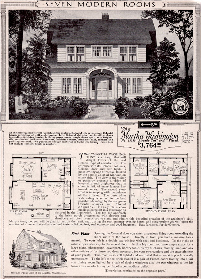 Martha Washington Dutch Colonial Revival Kit House Plan 1923