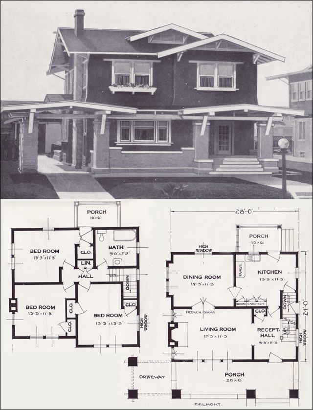 The belmont craftsman style two story 1923 standard for Standard house designs