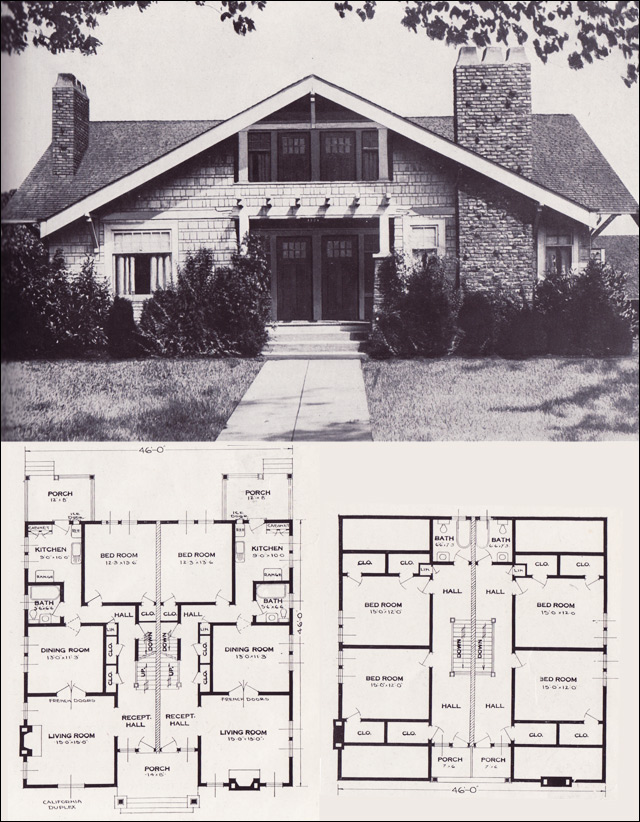 the california - craftsman-style side-by-side duplex - 1923 standard