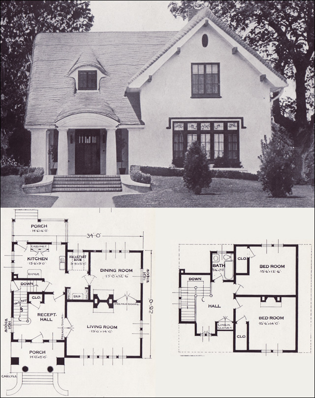 The carlyle storybook revival vintage house plans of for Standard house designs