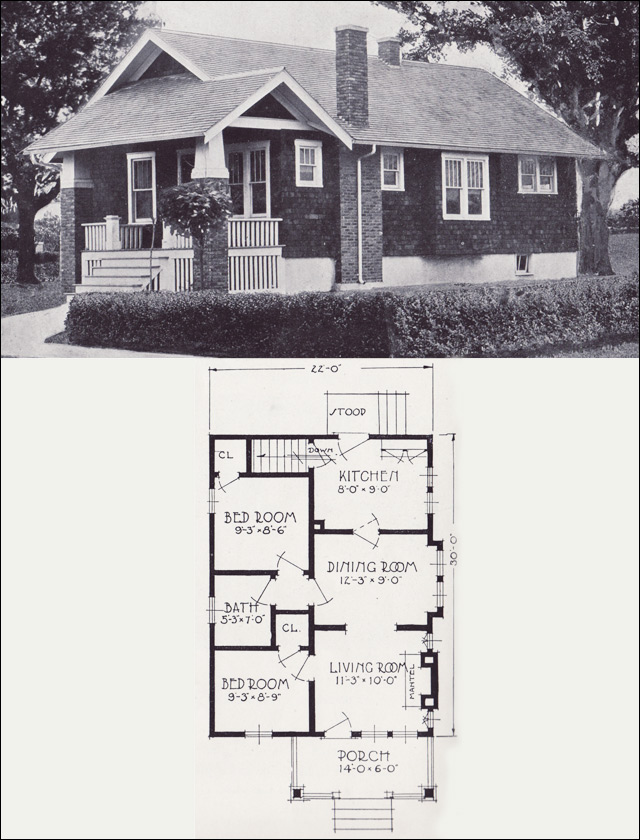 1920s small vintage bungalow cottage the clifton 1923 for Standard house plans