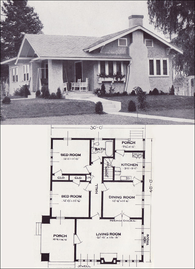 1920s vintage home plans the jewell standard homes for Vintage bungalow house plans