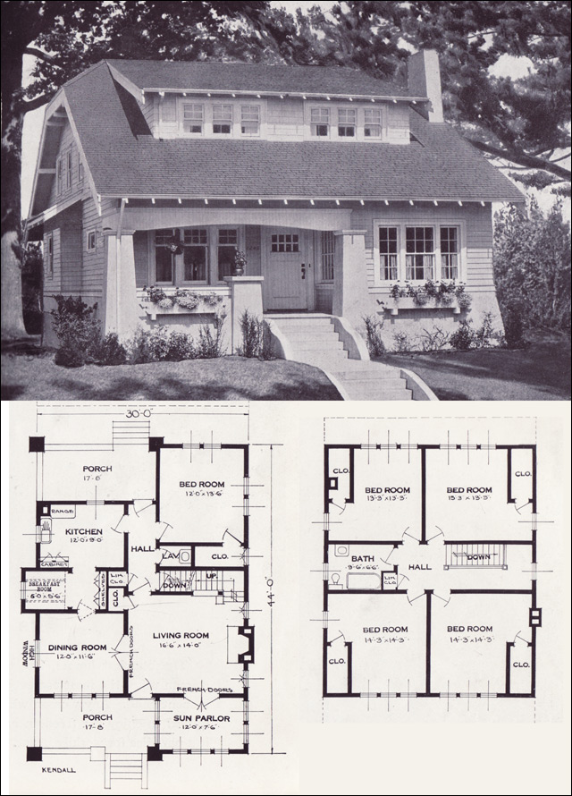 Clipped gable bungalow cottage the kendall 1923 for Standard home plans