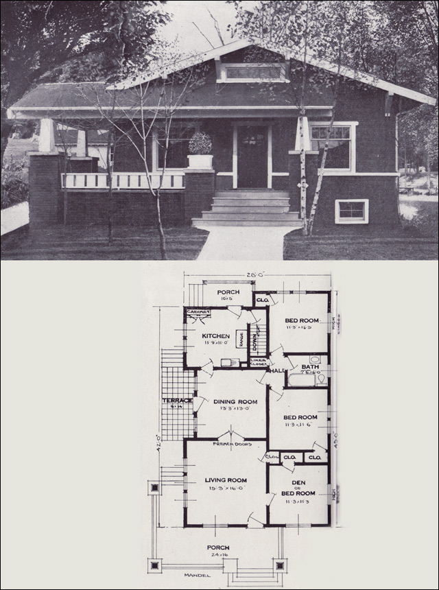The mandel craftsman style bungalow 1923 standard for Standard home plans