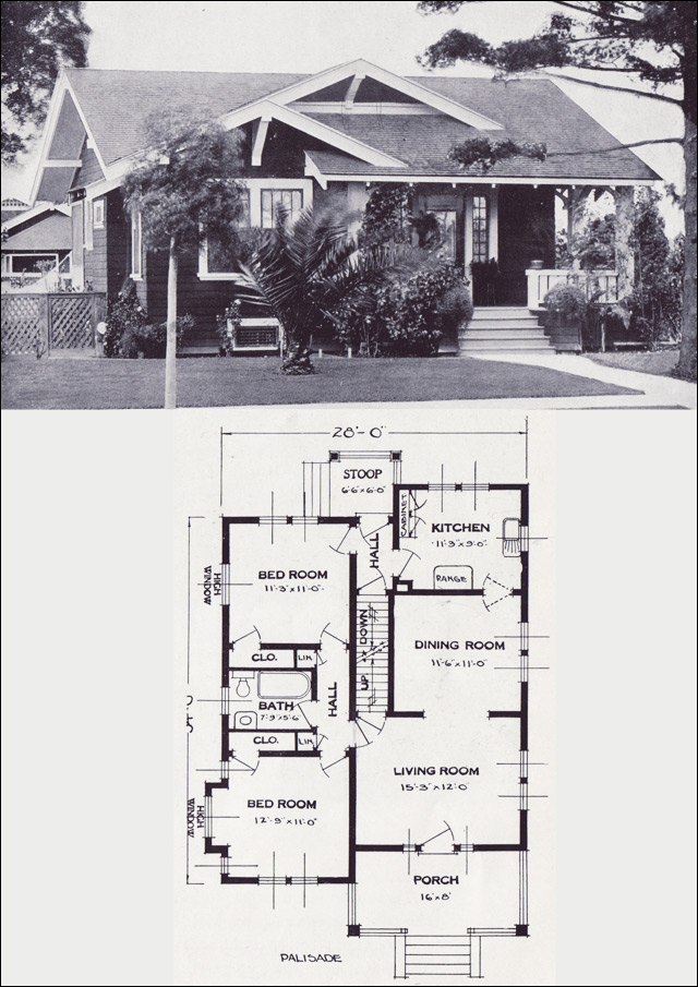 The Palisade Craftsman style Bungalow Vintage House Plans of the