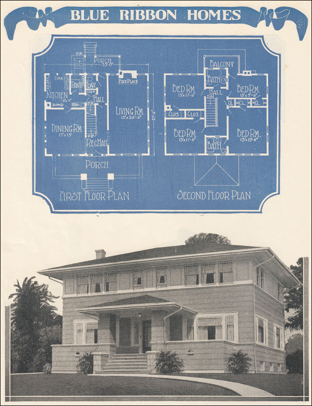 Foursquare Prairie Box Plan 1924 Radfords Blue Ribbon Homes