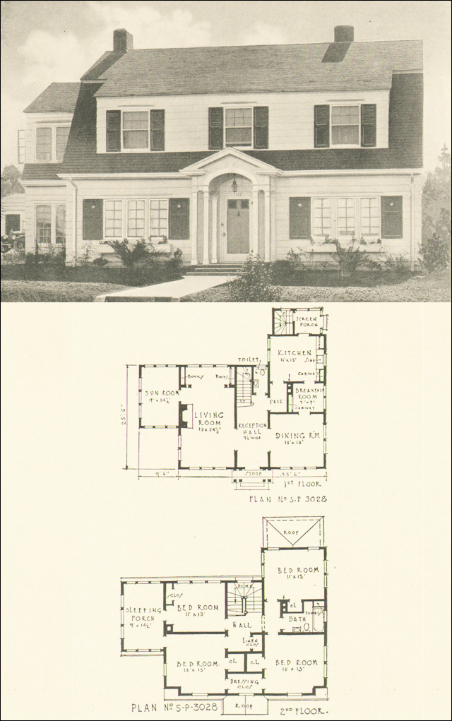 Dutch colonial revival 1920s house plan no 3028 for Dutch colonial house plans with photos