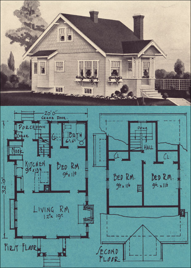 Tiny bungalow cottage 1924 stetson post vintage for Stetson homes floor plans