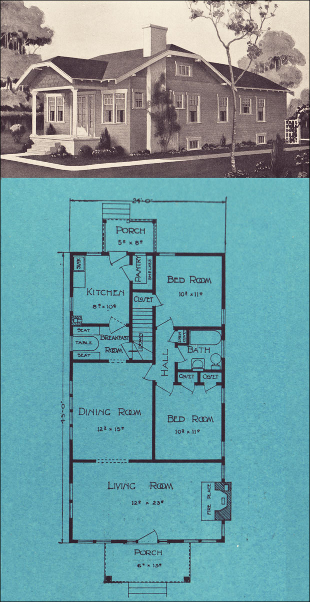 1920s clipped gable bungalow cottage 1924 stetson post for Stetson homes floor plans