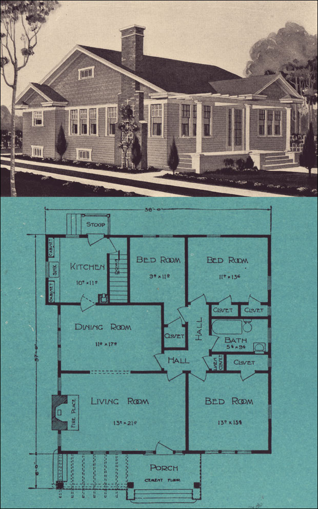 Vintage cottage house plans for Vintage bungalow house plans
