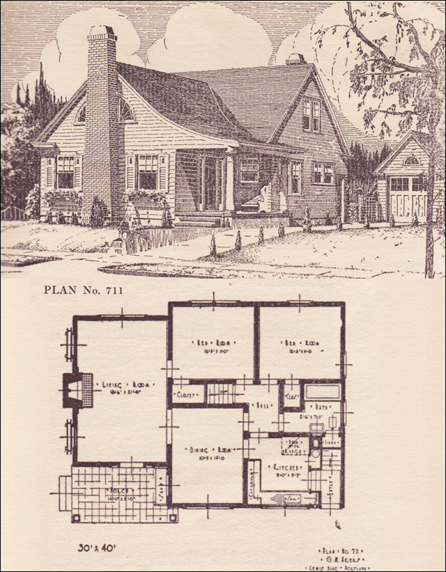 1924 Modern Colonial Revival Cottage 1920s House Plans The Portland Telegram Plan Book Plan