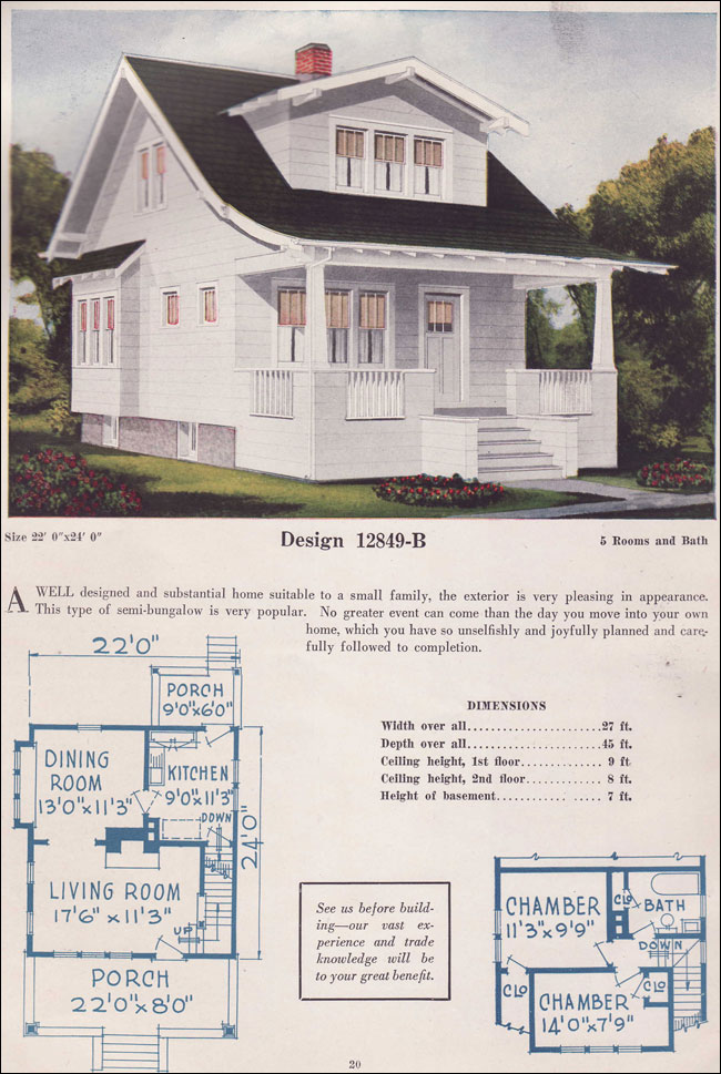 story and a half home plans 1925 bungalow story and a half gabled dormer c l
