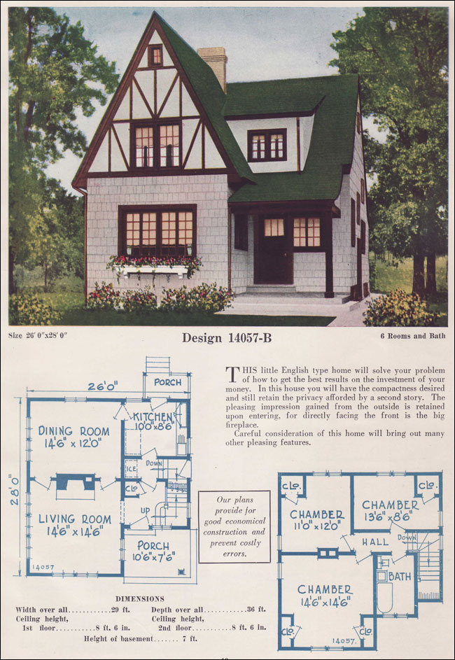 Two story english cottage half timber stucco 1925 c l for One and a half story house floor plans
