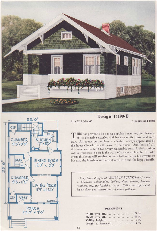 1925 classic craftsman style bungalow small house plan