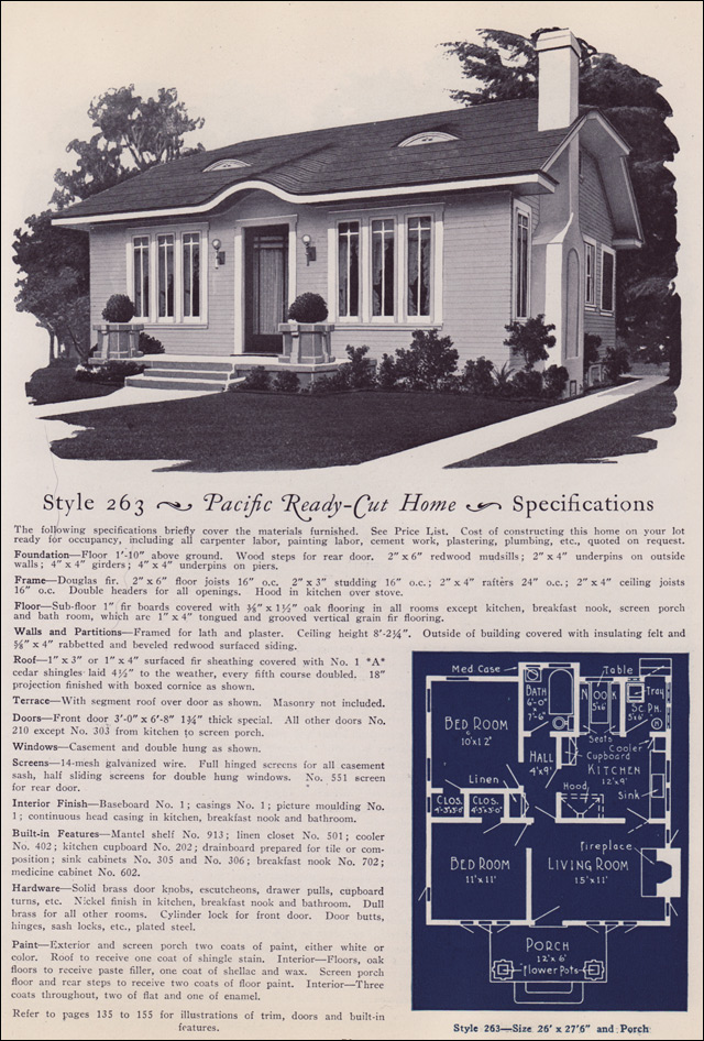 1925 Pacific Ready-Cut Plans - No. 263