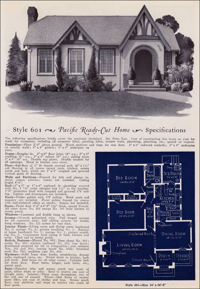 1925 pacific ready cut homes modern english eclectic for Ready built homes floor plans